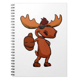 Cute moose cartoon waving. notebook