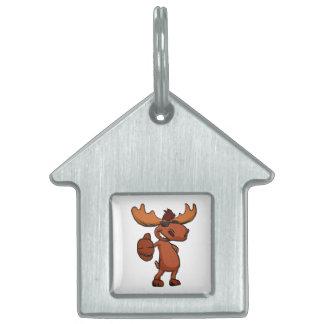 Cute moose cartoon waving. pet name tag