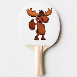 Cute moose cartoon waving. ping pong paddle