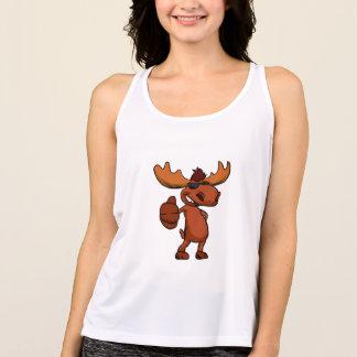 Cute moose cartoon waving. singlet