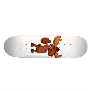 Cute moose cartoon waving. skateboard
