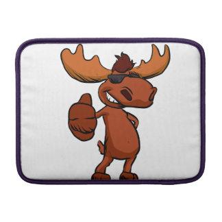 Cute moose cartoon waving. sleeve for MacBook air