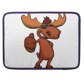 Cute moose cartoon waving. sleeve for MacBook pro