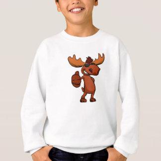 Cute moose cartoon waving. sweatshirt