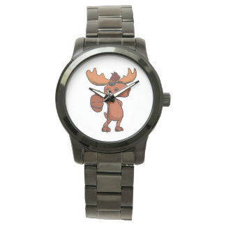 Cute moose cartoon waving. watch