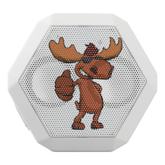 Cute moose cartoon waving. white bluetooth speaker