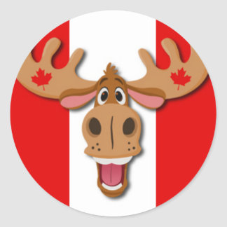 Cute Moose on Red and White Background Round Sticker