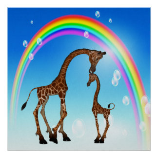 Cute Mother & Baby Giraffe & Rainbow Poster