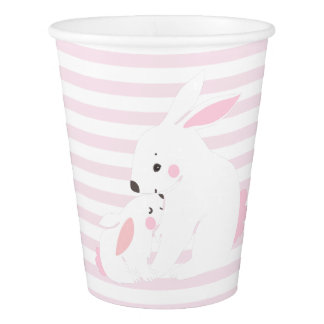 Cute Mother & Baby Girl Bunny Baby Shower Paper Cup