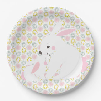 Cute Mother & Baby Girl Bunny Baby Shower Paper Plate