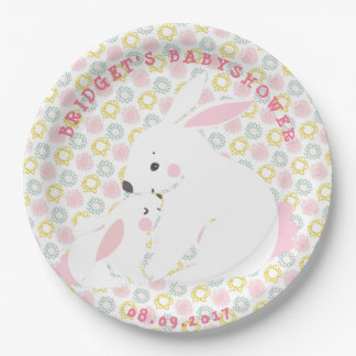 Cute Mother & Baby Girl Bunny Paper Plates