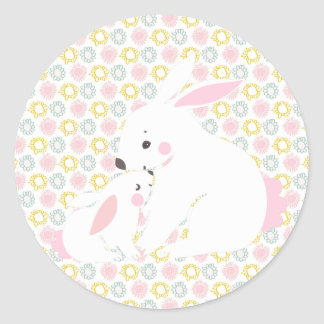 Cute mother & baby girl bunny stickers