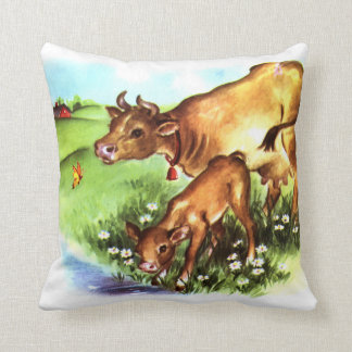 Cute Mother Cow & Baby Calf Vintage Storybook Art Cushion