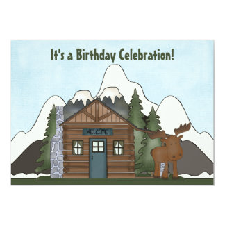 Cute Mountain Cabin and Moose Birthday Invites