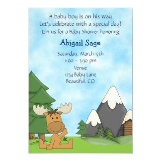 Cute Mountain Moose Boys Baby Shower Invitation