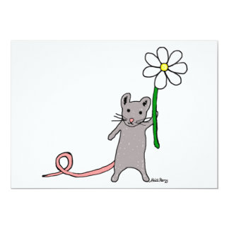 Cute Mouse And Flower Art Invitation