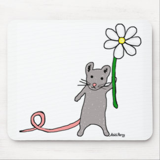 Cute Mouse And Flower Art Mouse Mat