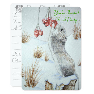 Cute mouse and red berries snow scene wildlife art 13 cm x 18 cm invitation card