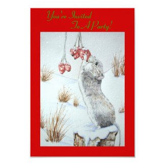 Cute mouse and red berries snow scene wildlife art 9 cm x 13 cm invitation card