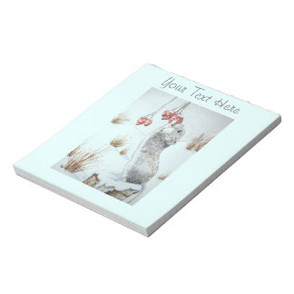 Cute mouse and red berries snow scene wildlife art notepad