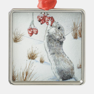 Cute mouse and red berries snow scene wildlife art Silver-Colored square decoration