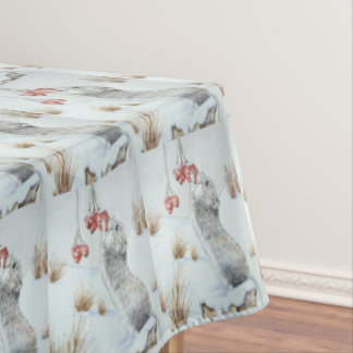 Cute mouse and red berries snow scene wildlife art tablecloth