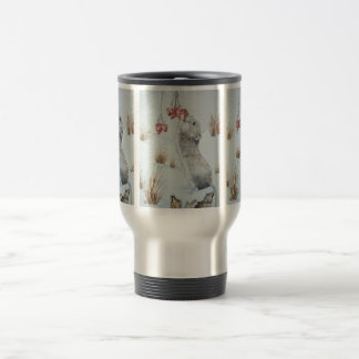 Cute mouse and red berries snow scene wildlife art travel mug