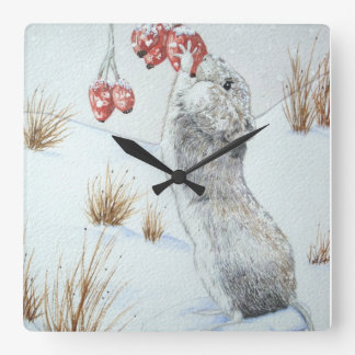 Cute mouse and red berries snow scene wildlife art wallclock