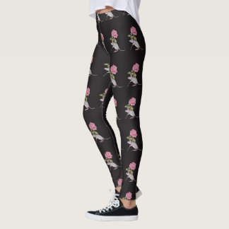 Cute Mouse Carrying Big Pink Rose Flower, Art Leggings