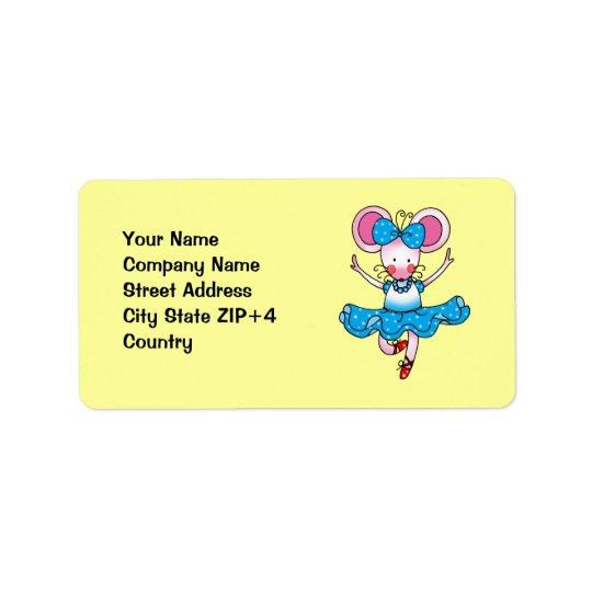 Cute mouse girl ballerina label