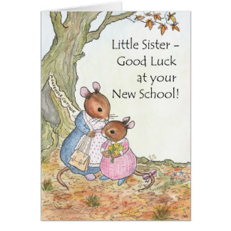 Cute Mouse Good Luck New School for Sister Card