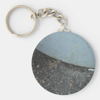 Cute Mouse Hiding Under Trash Can Basic Round Button Key Ring