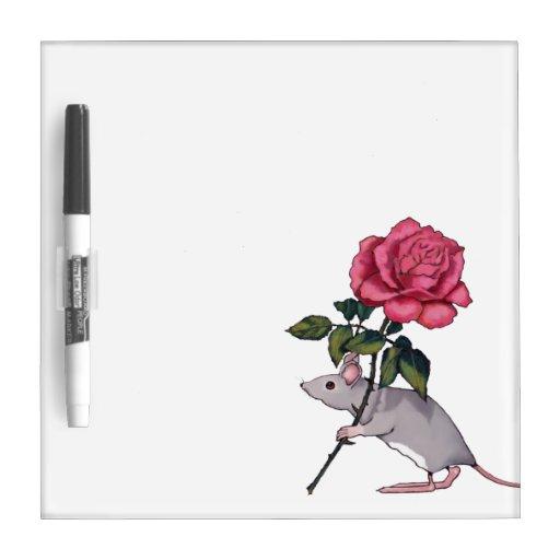 Cute Mouse Holding Big Pink Rose: Original Art Dry Erase Board