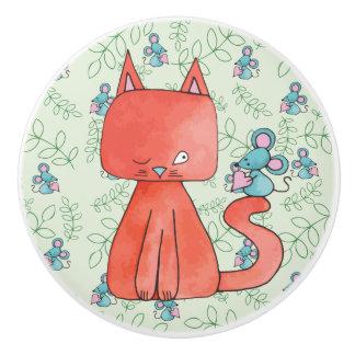 Cute Mouse Loves Kitty Cat Ceramic Knob
