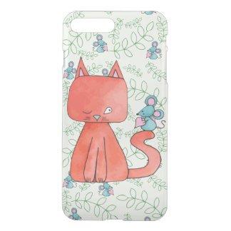 Cute Mouse Loves Kitty Cat iPhone 7 Plus Case