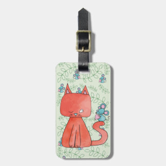Cute Mouse Loves Kitty Cat Luggage Tag