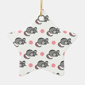Cute Mouse, Mice, Pink and White Polka Dots Ceramic Ornament