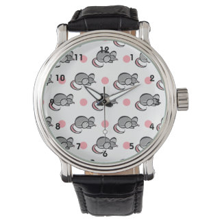 Cute Mouse, Mice, Pink and White Polka Dots Watch
