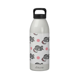 Cute Mouse, Mice, Pink and White Polka Dots Drinking Bottle