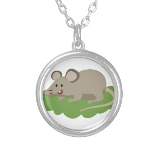 cute mouse rat silver plated necklace