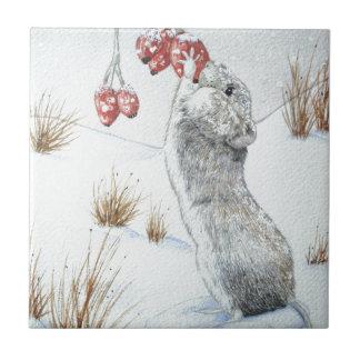 Cute mouse red berries snow scene wildlife design ceramic tile