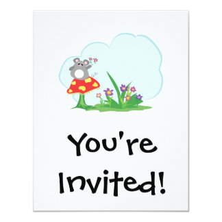 cute mouse sitting on mushroom with flowers card