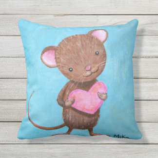 Cute Mouse Throw Pillow Adorable Mice with Heart
