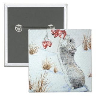 Cute mouse winter snow scene wildlife art button buttons