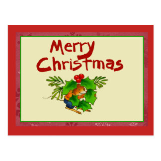 Cute Mouse with Holly Christmas postcard