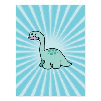 Cute Moustache Dinosaur Postcard