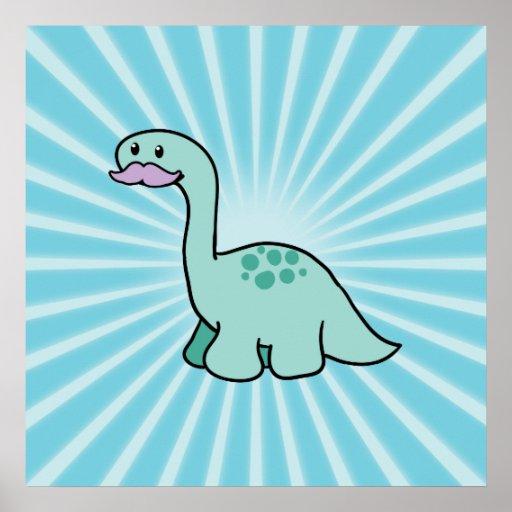 Cute Moustache Dinosaur Poster