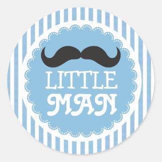 Cute Moustache Little Man Baby Shower Blue Stripes Classic Round Sticker