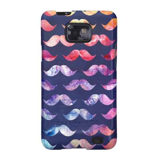 Cute Moustache Pattern with Watercolor Overlays Samsung Galaxy SII Cover