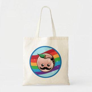 Cute Moustache Peach Canvas Bag